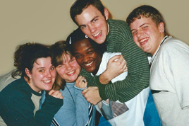 Church 'Cell Group' in High School, circa 1998. L-R, our leader Jen, Sarah, Leslie, me, Andrew.