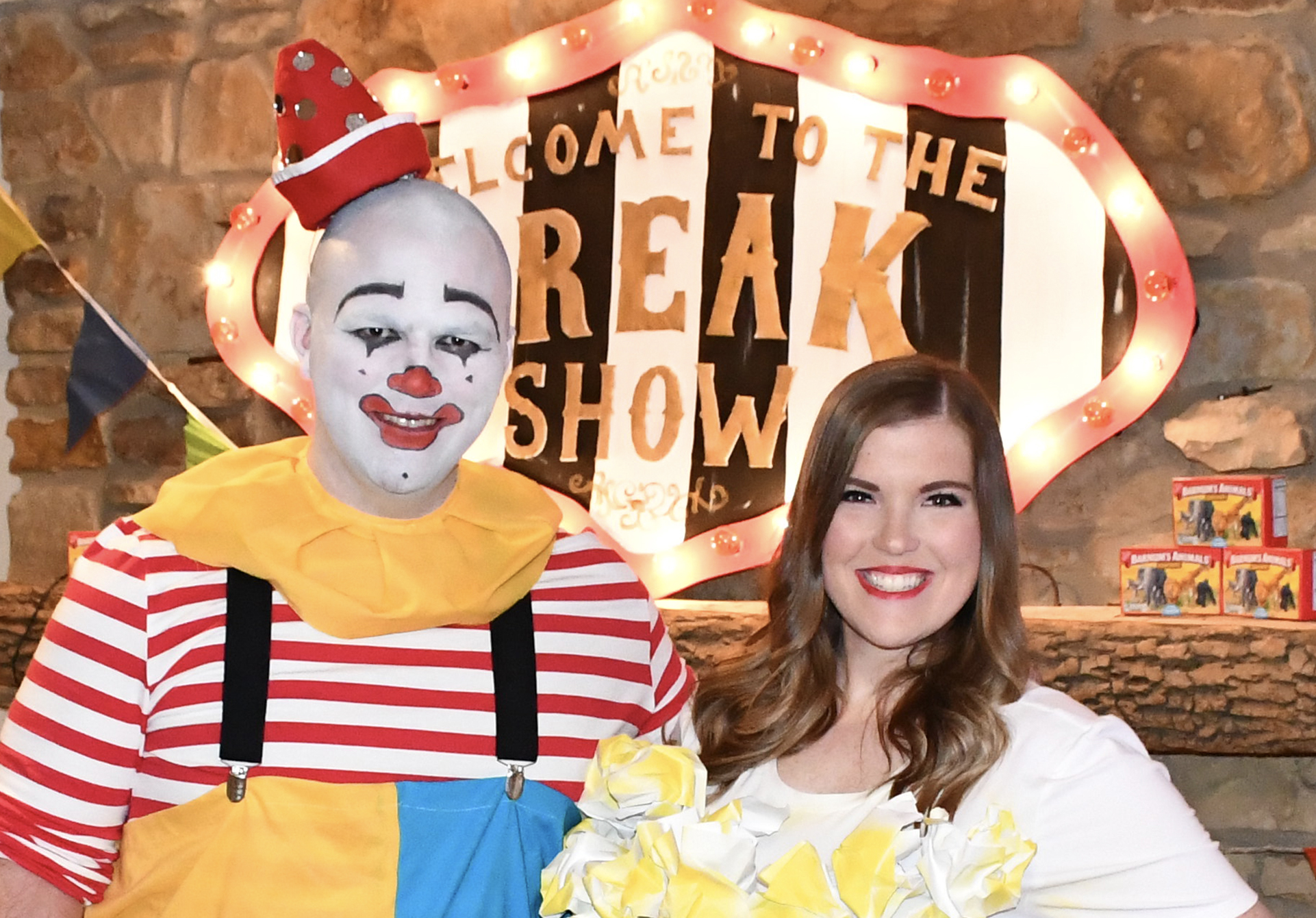 "Myself and my wife at our 2018 Halloween Party. I was a ""Pierrot White Face Clown"" and she was a box of popcorn!"