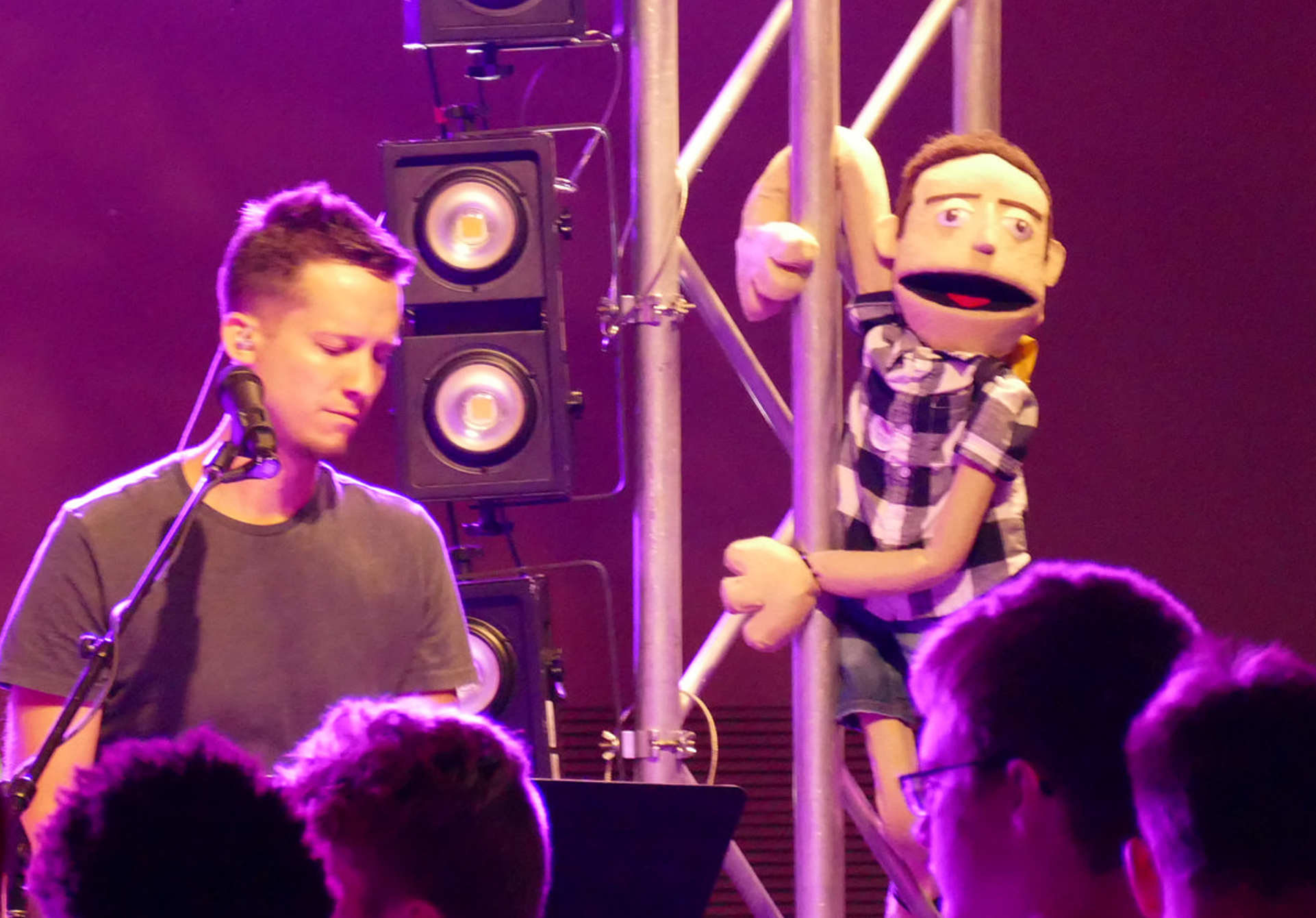 """""""Puppet Ian"""" (right) on stage with """"Human Ian"""" at Ignite 2018."""