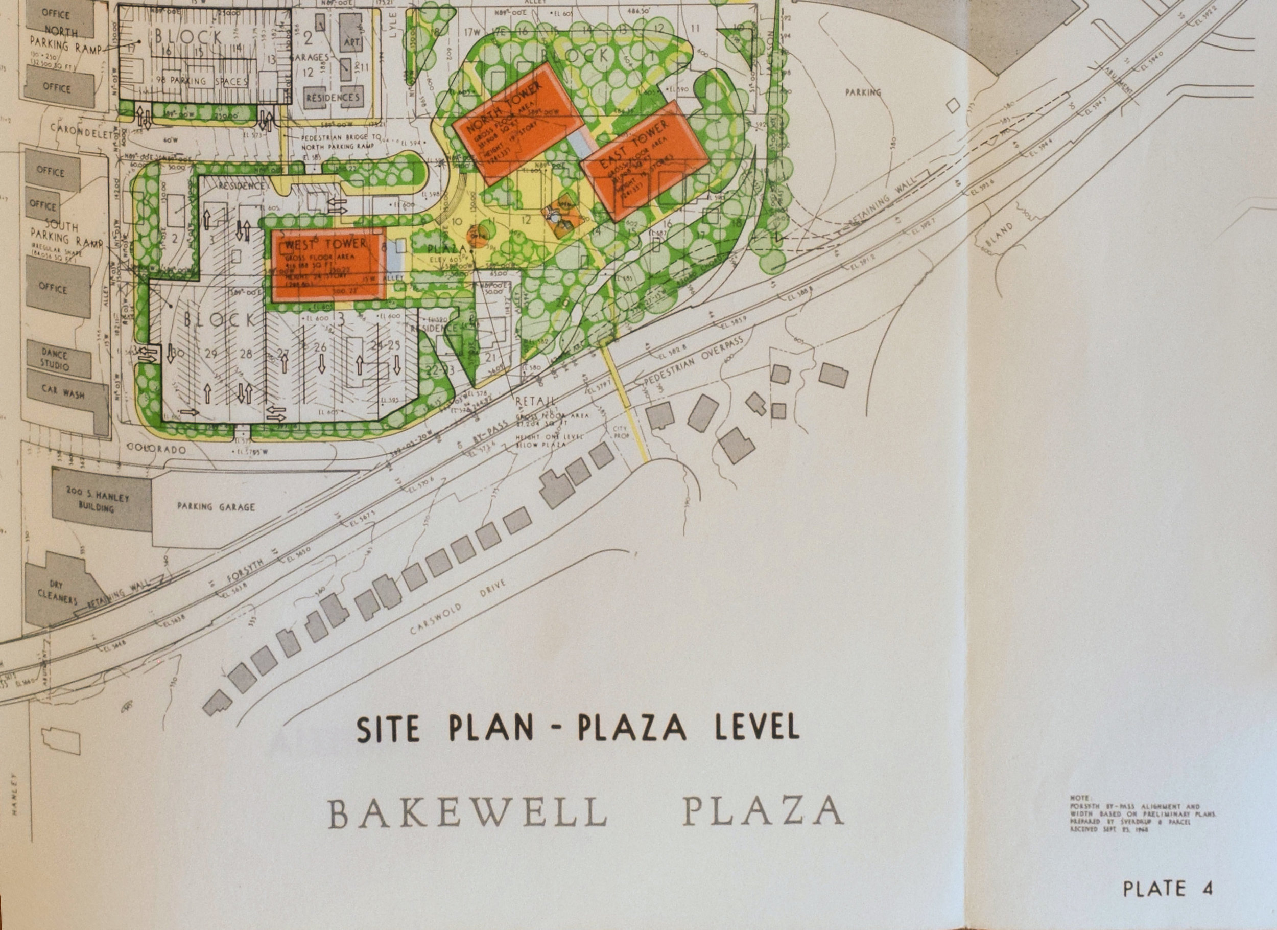 Bakewell Plaza Proposal, 1968,  Courtesy of Washington University Special Collections