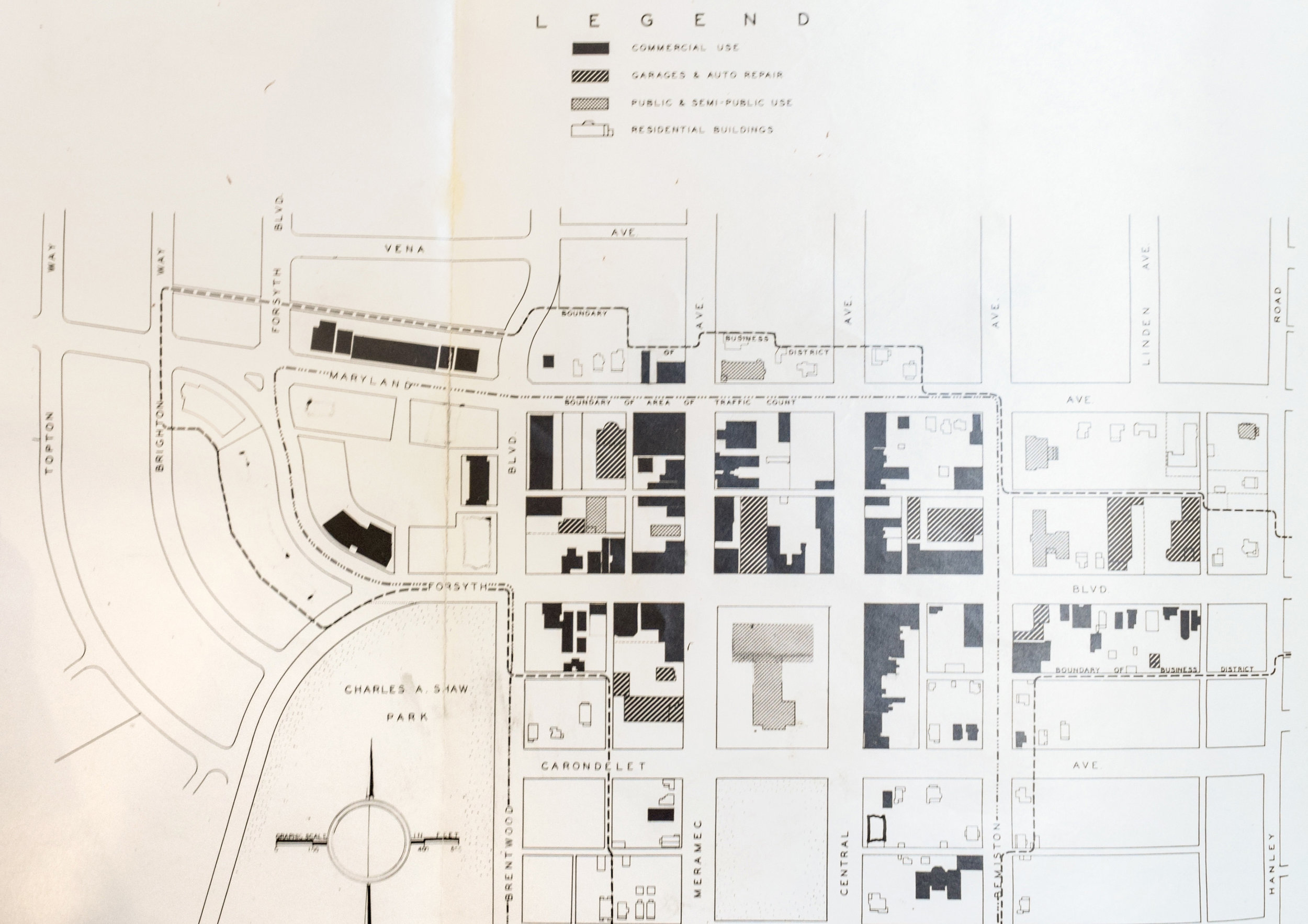 Central Business District, Existing Development,  Courtesy of Washington University Special Collections