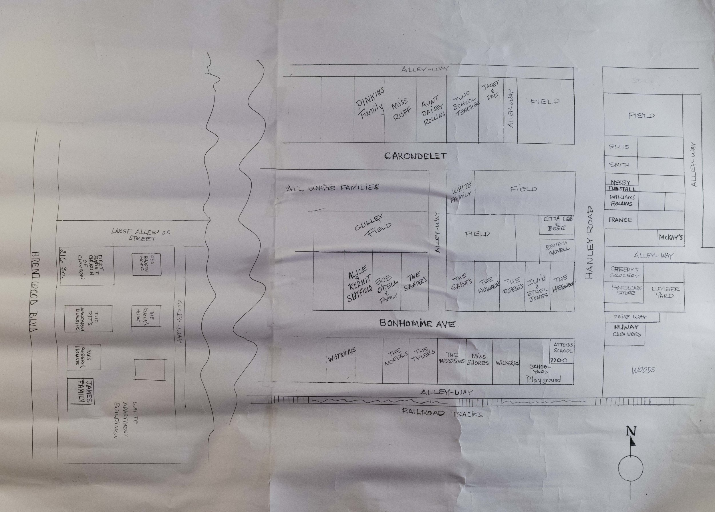 Hand-drawn map of Clayton's black community drawn by a former resident,  Courtesy of Donna Rogers-Beard