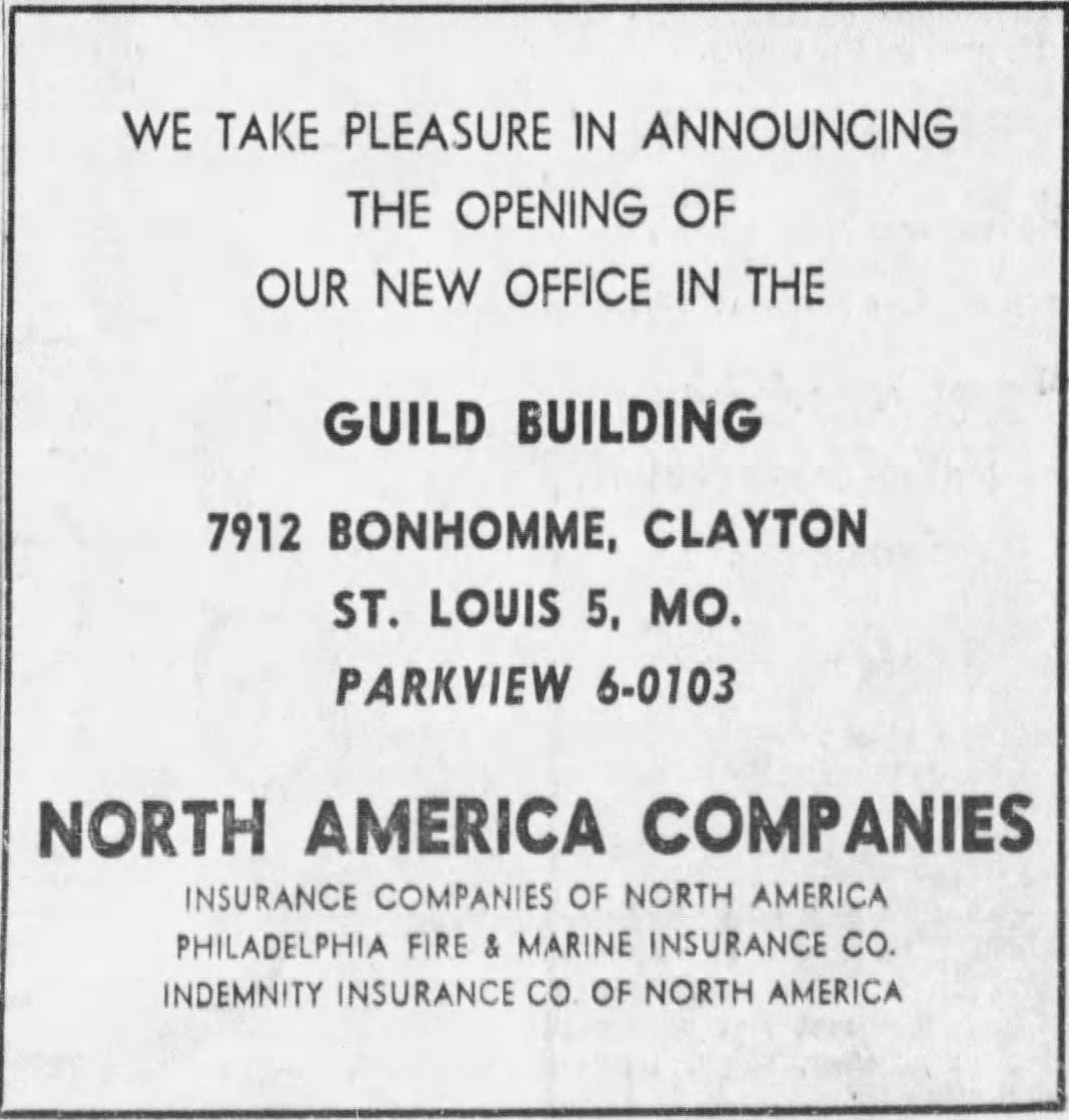 Guild Building advertisement, St. Louis Post Dispatch, 1954,  Newspapers.com