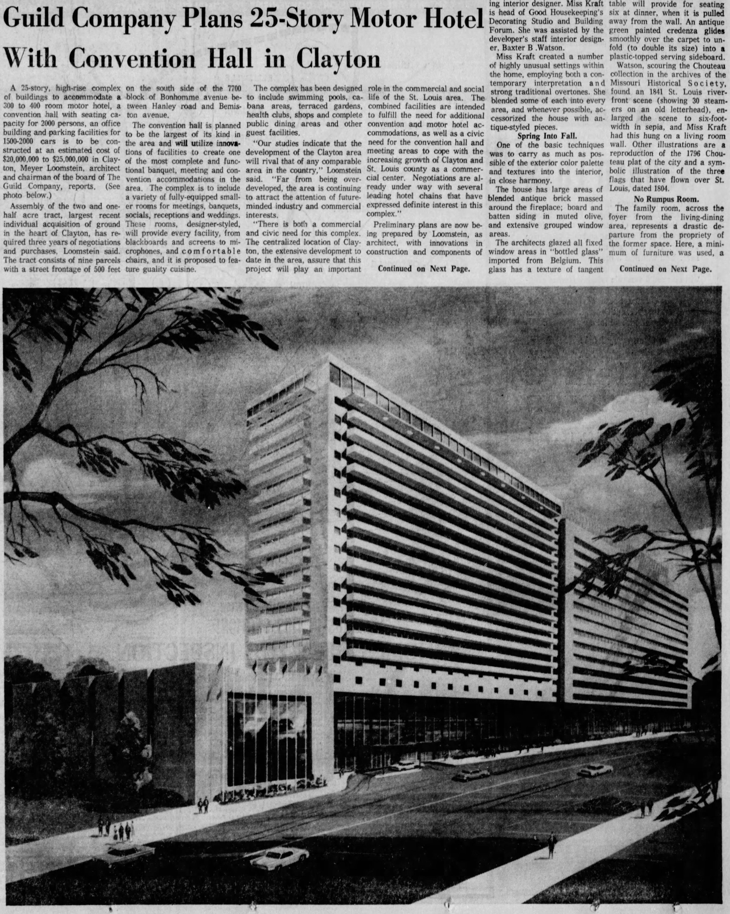 """Guild Company Plans 25-Story Motor Hotel With Convention Hall in Clayton,"" St. Louis Post Dispatch, 1962,  Newspapers.com"