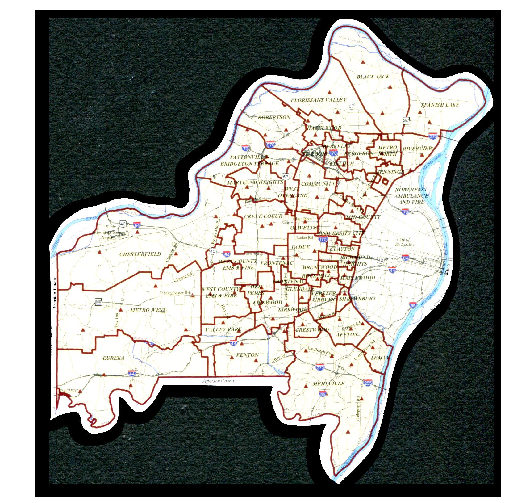 St. Louis,  Fire district map
