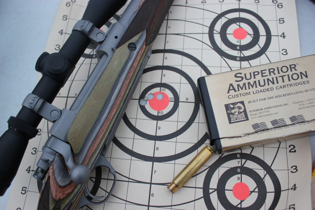 After sighting in at 25 yards, you can move to 100 yards and expect to be quite close. This group was produced at 100 yards using a Ruger Guide Gun in .375 Ruger.