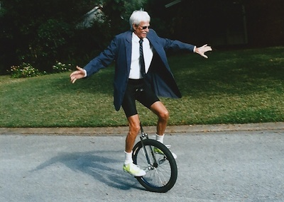 Stephen Jepson from  neverleavetheplayground.com  teaching and riding his unicycle in his 70s.
