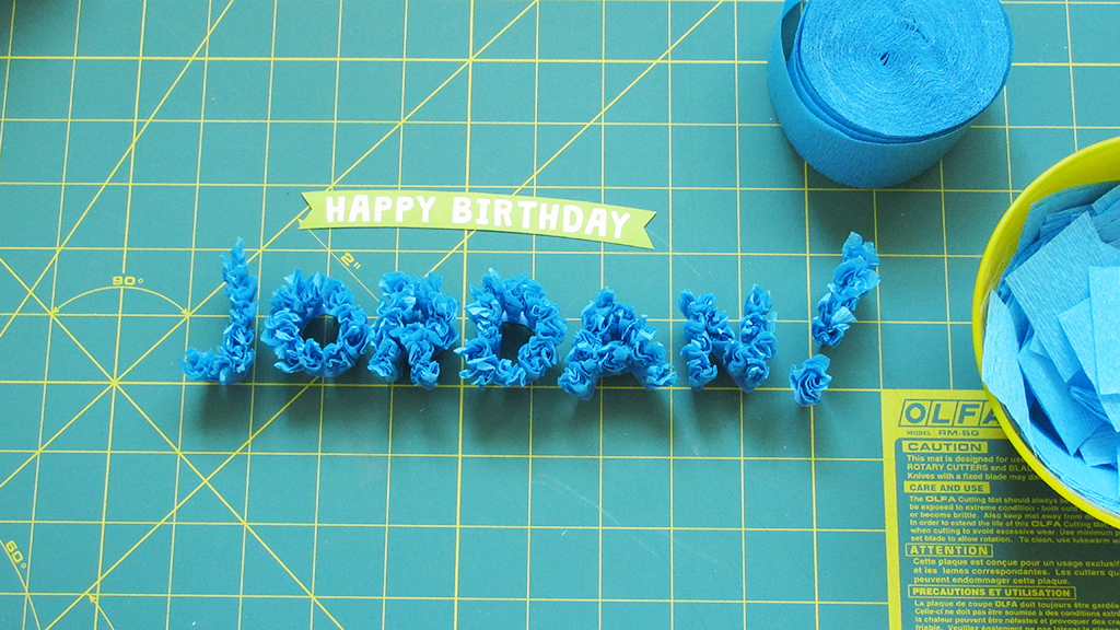 All of the letters and exclamation point are done for the DIY Streamer Name Cake Topper