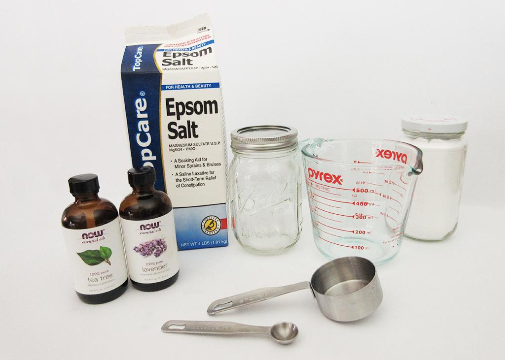 DIY Detox Bath Salt Blend ingredients and measuring spoons