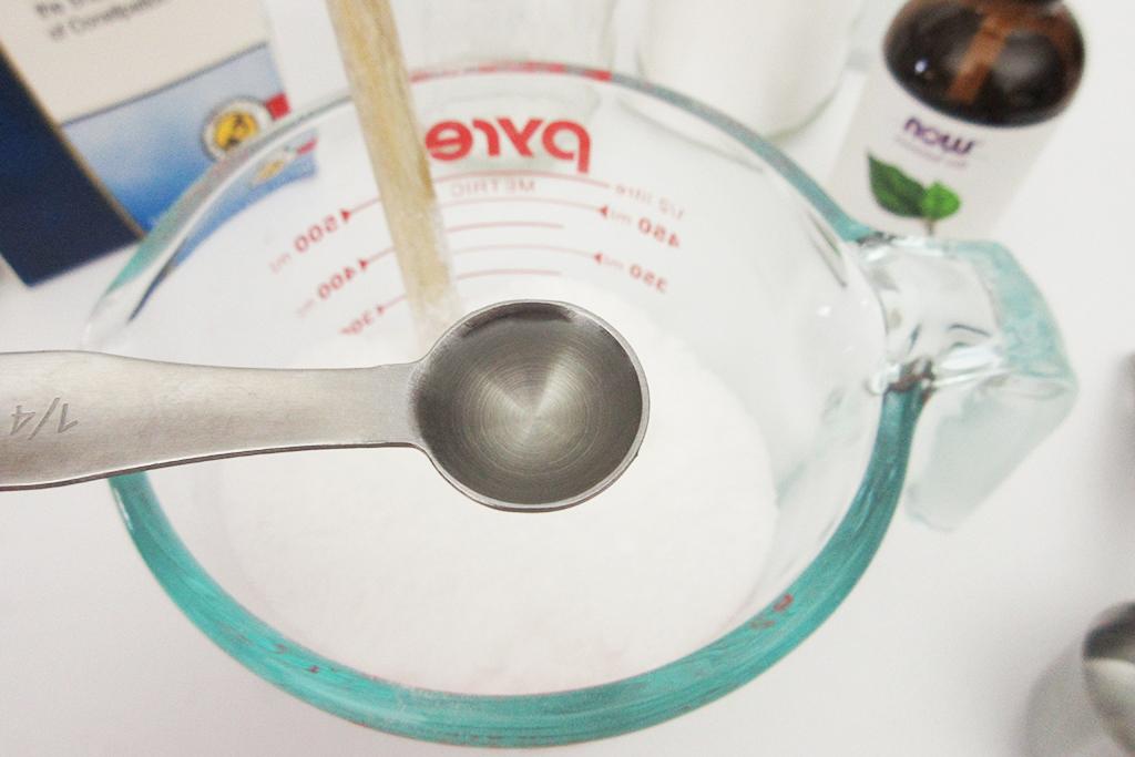 Adding Tea Tree Essential Oil to the DIY Detox Bath Salt Blend