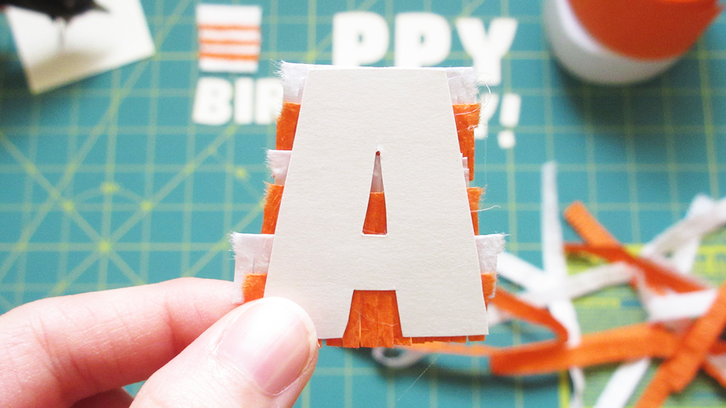 Showing the back of the letter A for the DIY Pinata Letters Cake Topper Tutorial