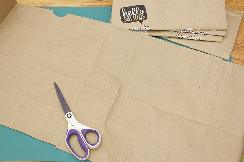 Brown paper bag fully cut open for Christmas Holly Leaf Decoration