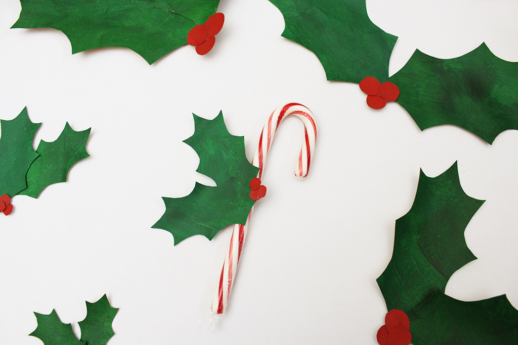 DIY Paper Bag Christmas Holly Leaf Decoration with Candy Cane