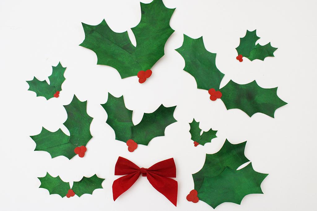 DIY Paper Bag Christmas Holly Leaf Decoration
