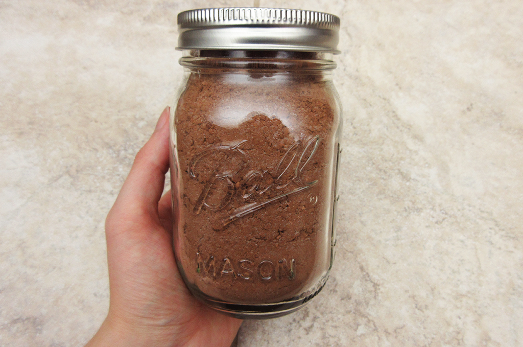 Vegan Candy Cane Cocoa in pint-sized Ball jar