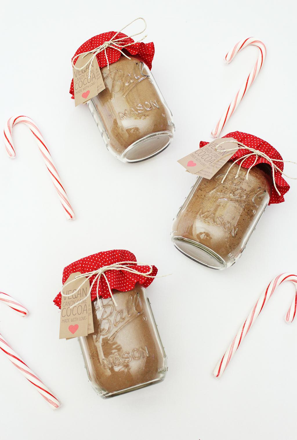 Vegan Candy Cane Cocoa Mix Jars