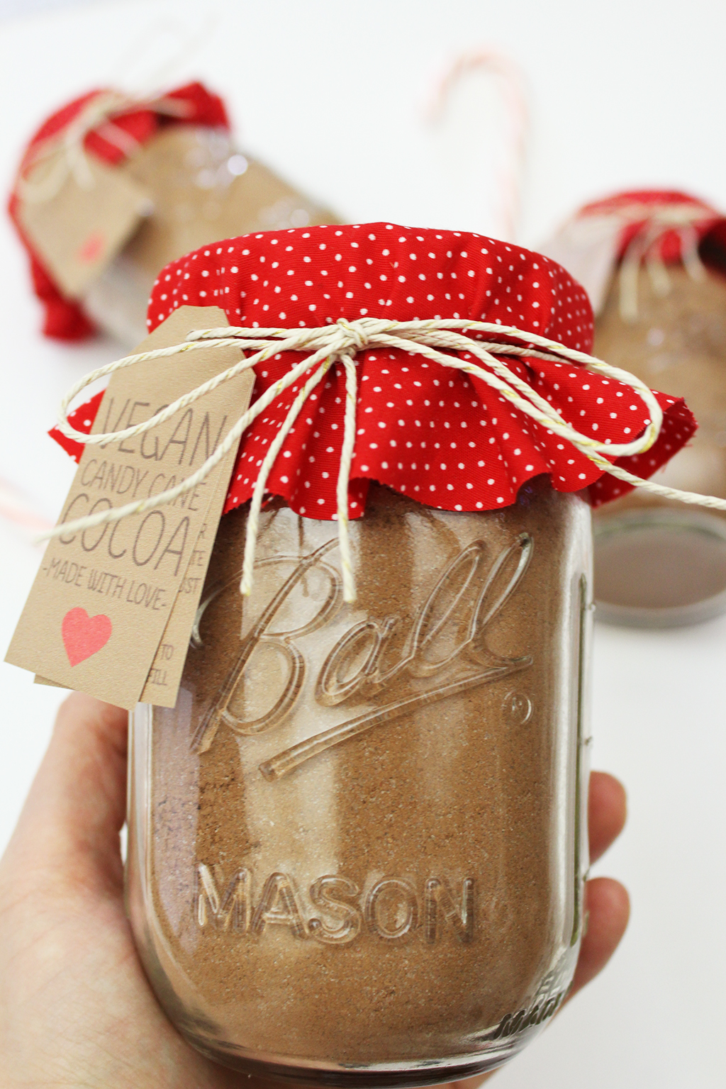 Holding Vegan Candy Cane Cocoa Mix Jar In Hand