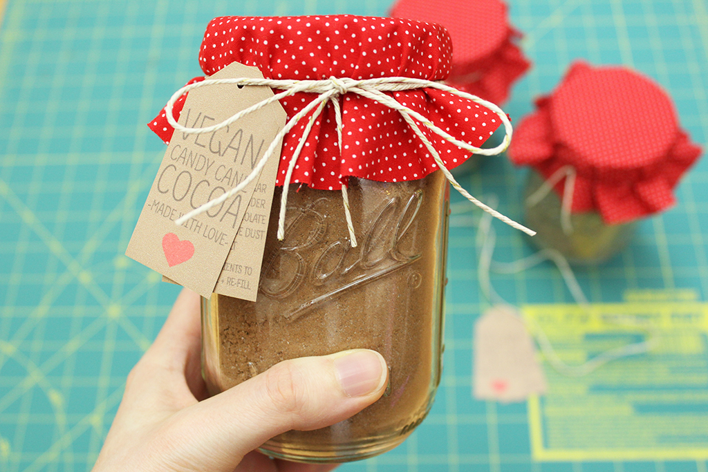 Vegan Candy Cane Cocoa Mix in decorated jar
