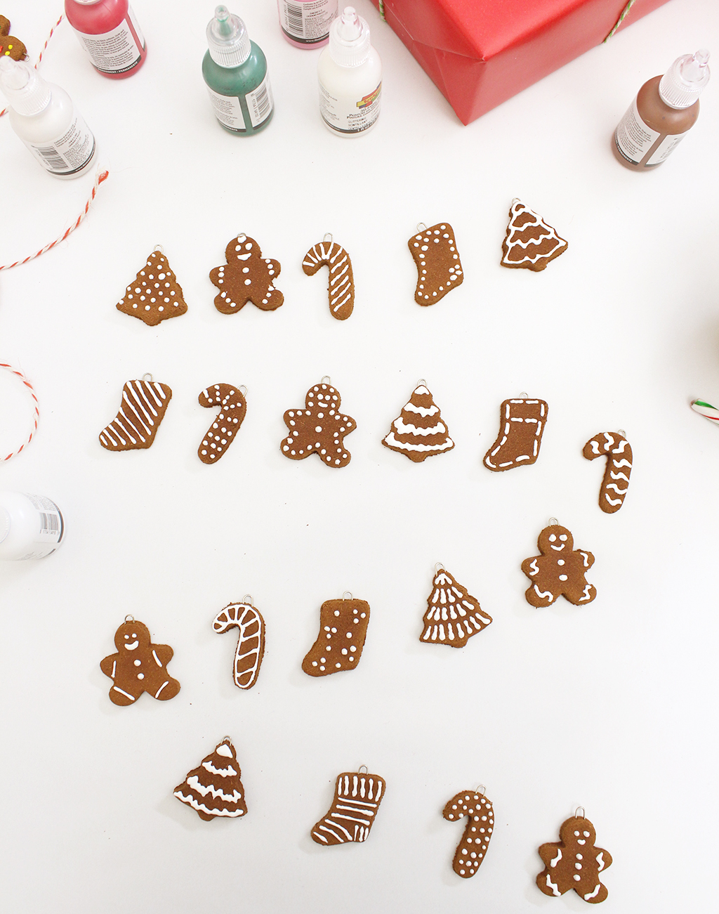 Mini Gingerbread Cookie Garland Fully Decorated