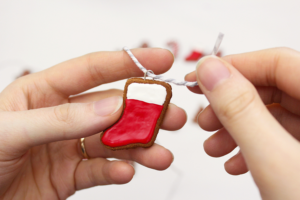 Stringing Mini Gingerbread Cookie Garland