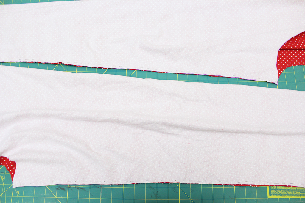 Two leg panels for DIY flannel pajama bottoms pinned and ready to be sewn