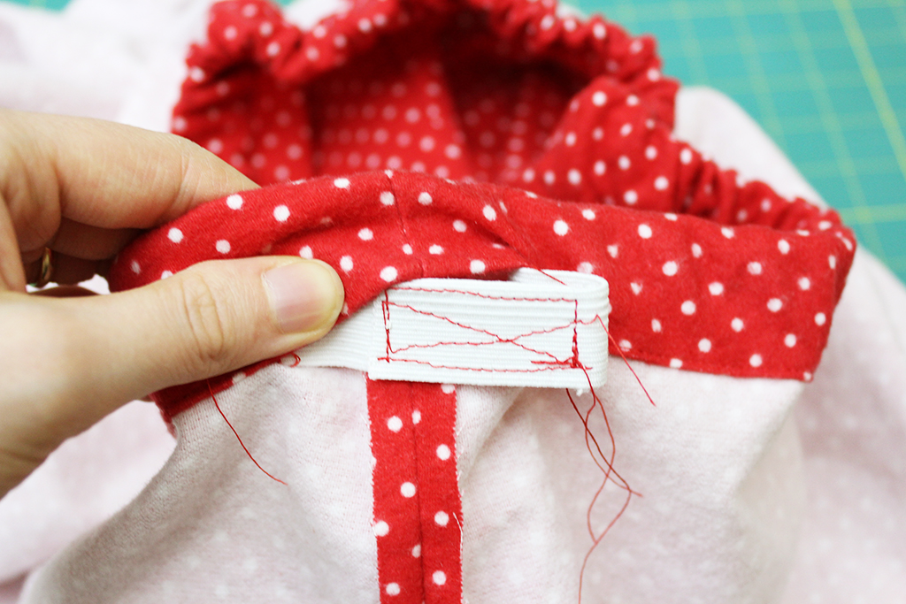 Sewing the elastic together for the DIY Pajama Bottoms