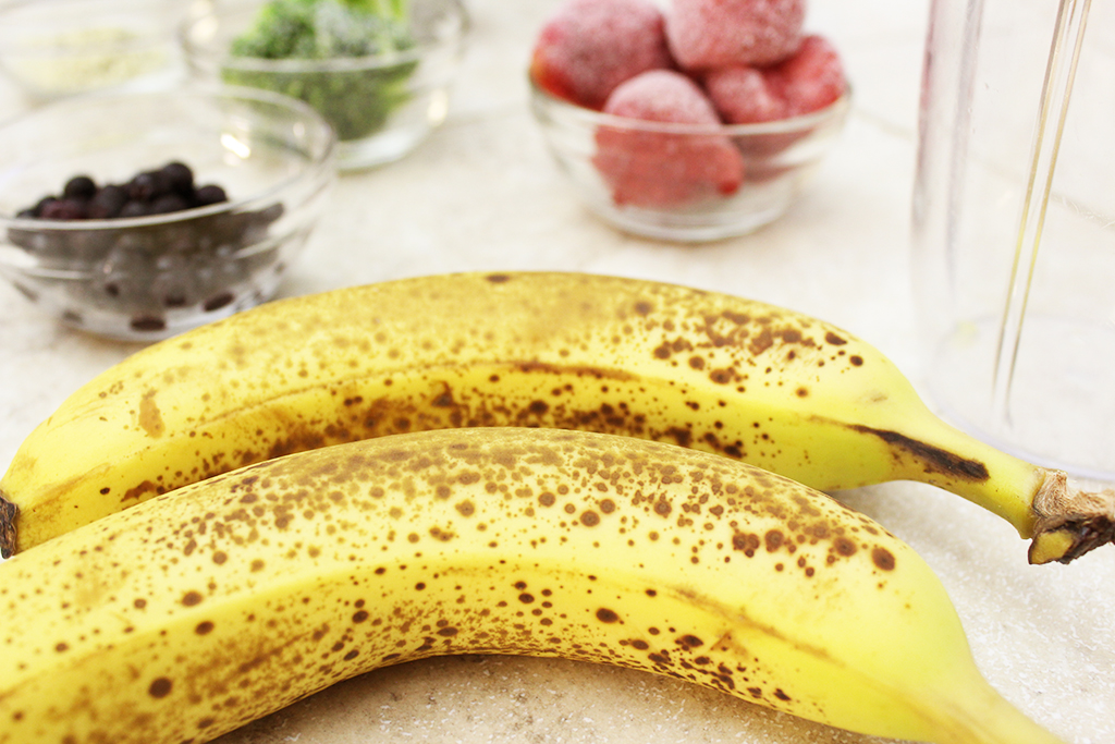 Ripe spotty bananas for smoothie