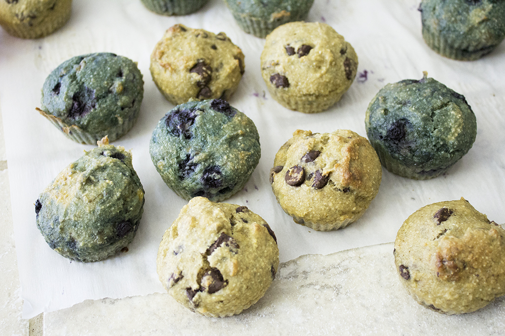 Vegan Gluten-free Banana Bread Muffins: Chocolate Chip + Blueberry