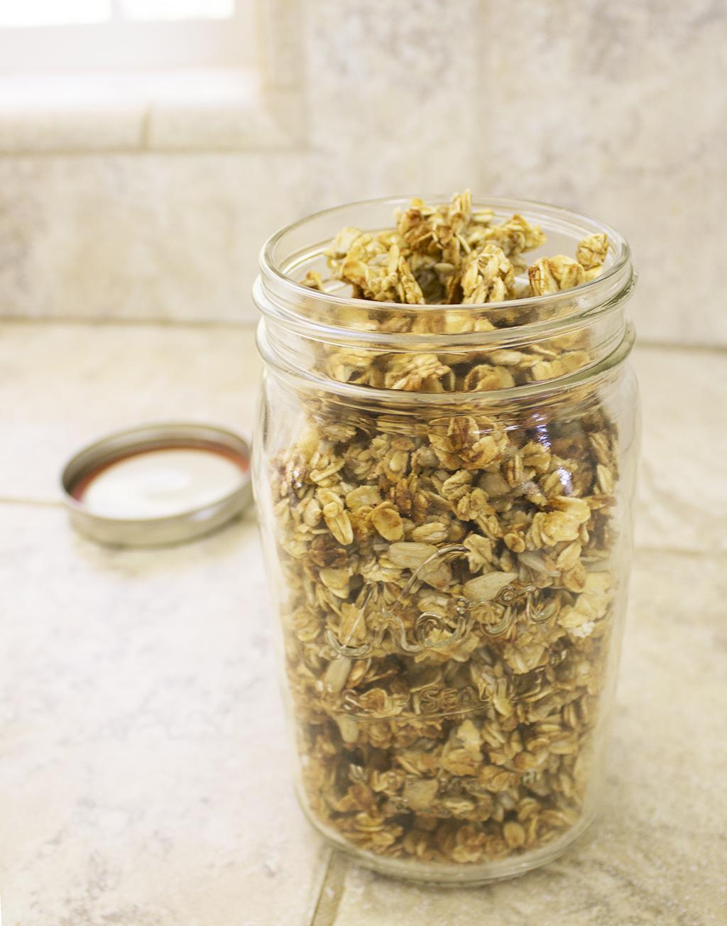 Healthy Vegan Crunchy Banana Granola In Jar