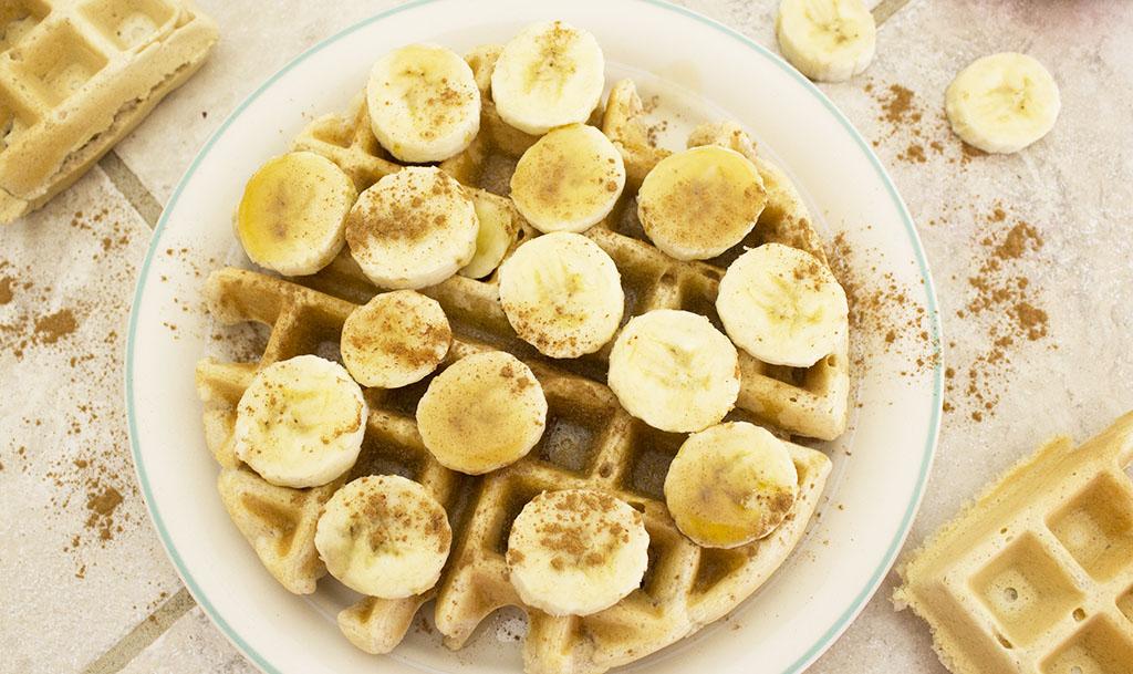 Vegan Waffle Recipe Bananas Cinnamon Maple Syrup