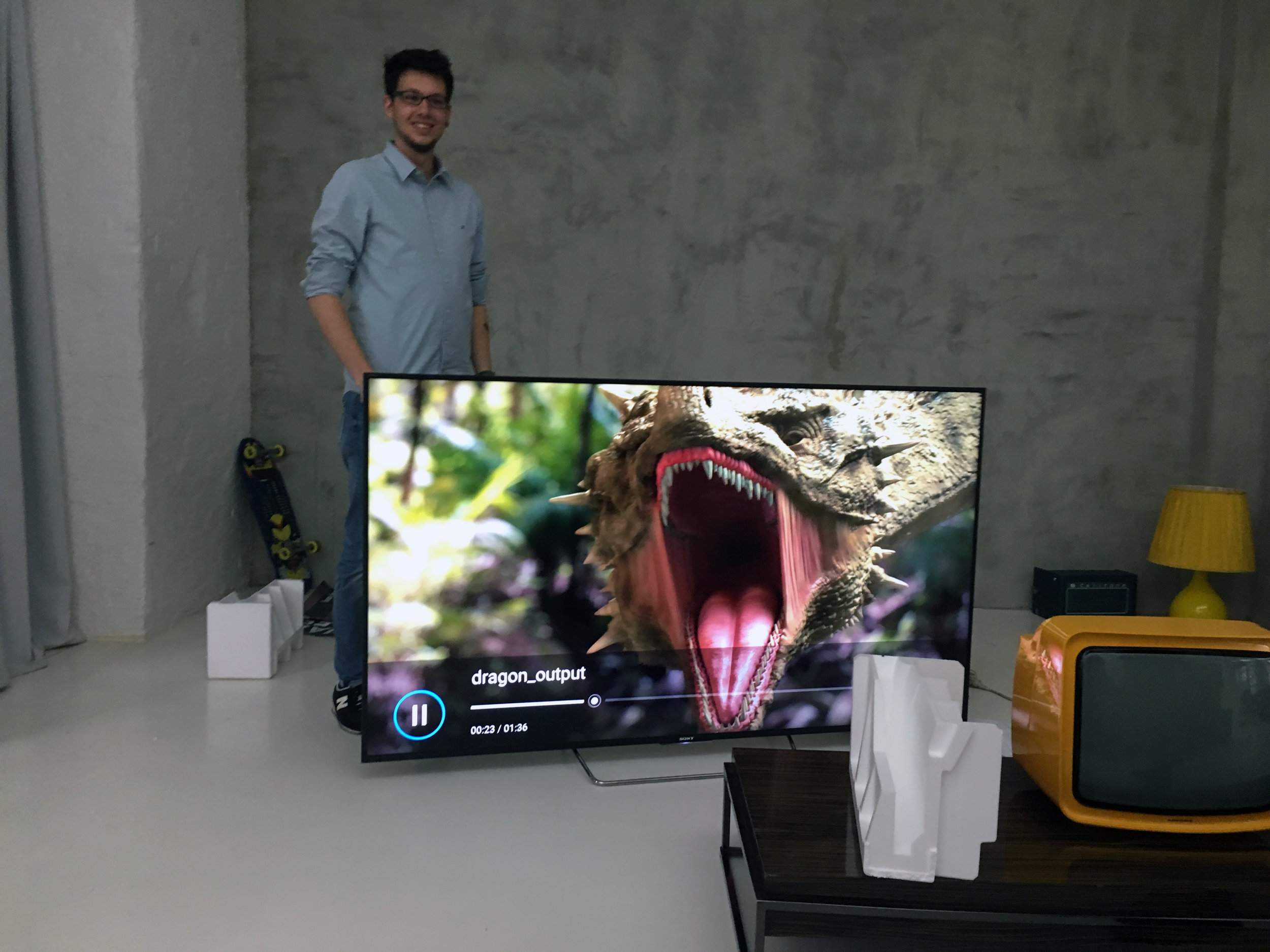 75 Inch Sony Bravia TV for our roaring CGI Dragon. Mega!