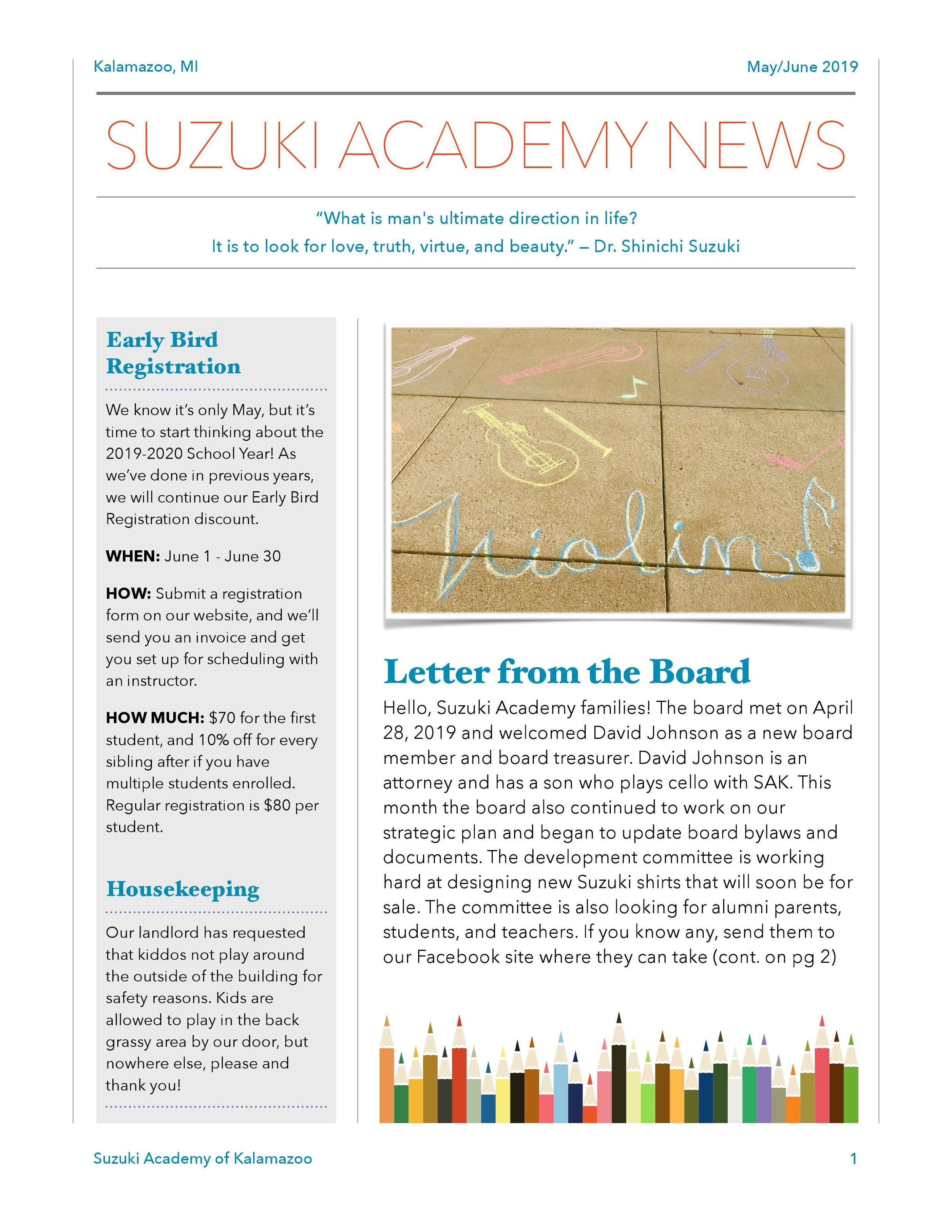 May & June Newsletter — The Suzuki Academy of Kalamazoo