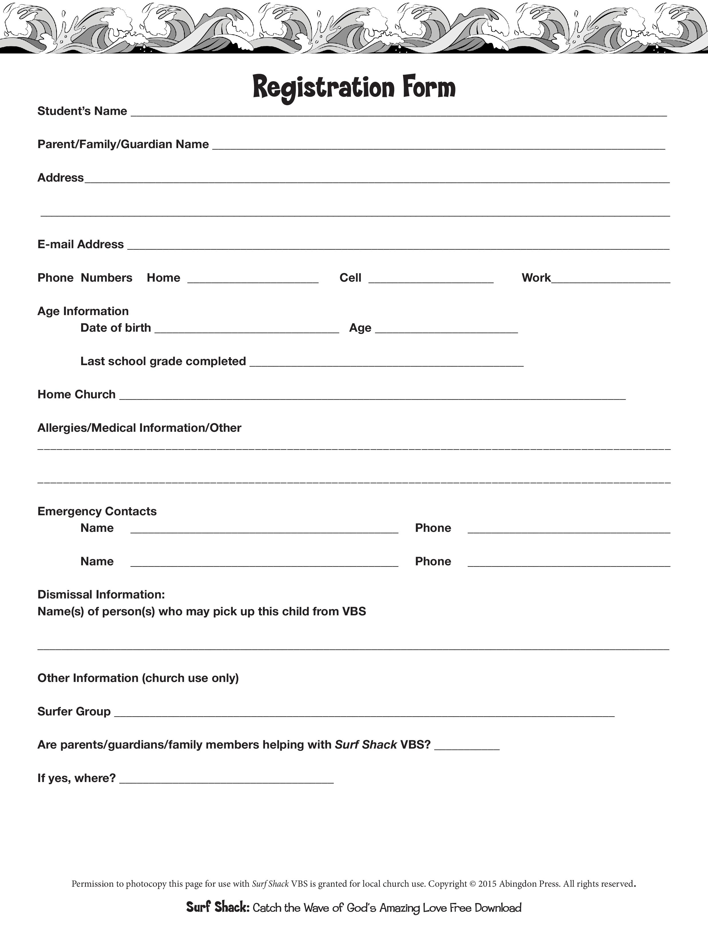 REGISTRATION FORM FOR SURF SHACK VBS (Click to download full version0
