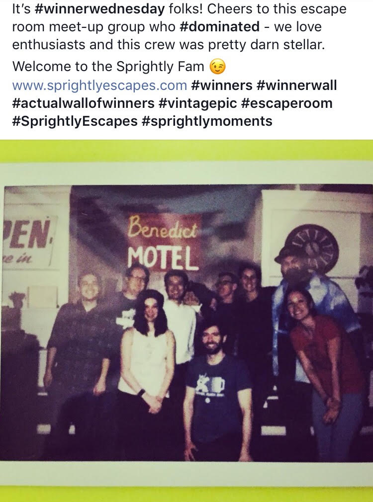 Sprightly Escapes - Denver Escape Room Winners