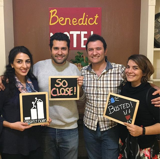 Despite the CIA be by hot on their trail, this team had a great time in Weekend Get-AWAY! They were so close to making it out of the Benedict Motel. Thank you for taking the time to play at Sprightly! #sprightlyescapes #denver #escaperoom