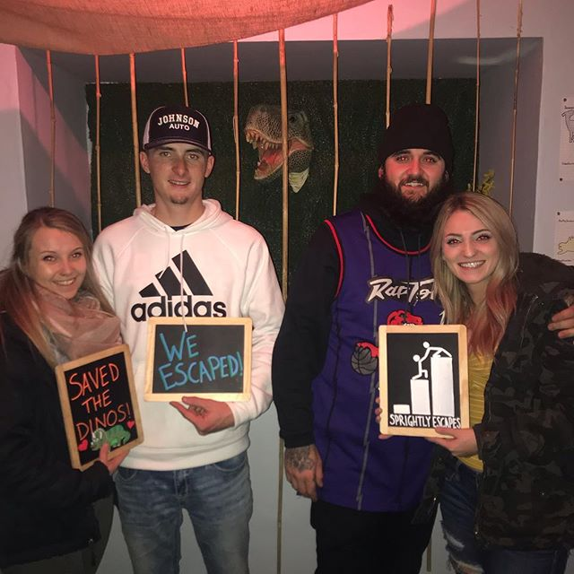 These four checked out Mission Improbable for their first escape room. It's always great to see first time players embark on our hobby. We sure are glad this team had a great time! #sprightlyescapes #denver #escaperoom
