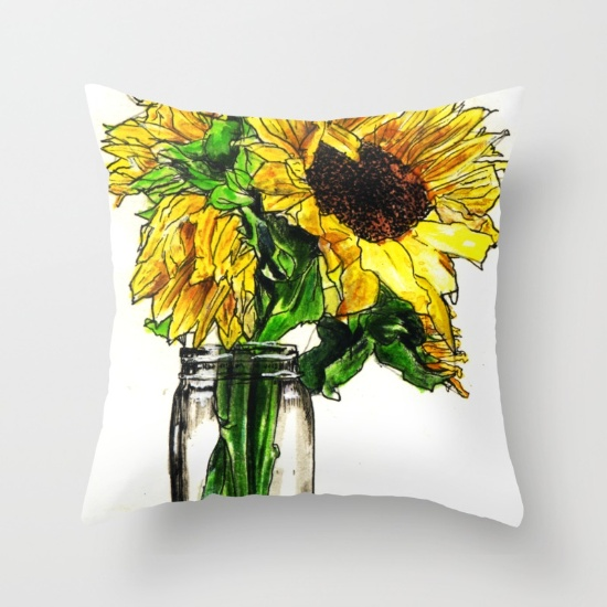 Sunflower In Mason Jar - Throw Pillow.jpg