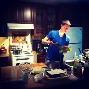 Baking on a cabin weekend. That night we had a Gateau Basque, preceded by some roast chicken.