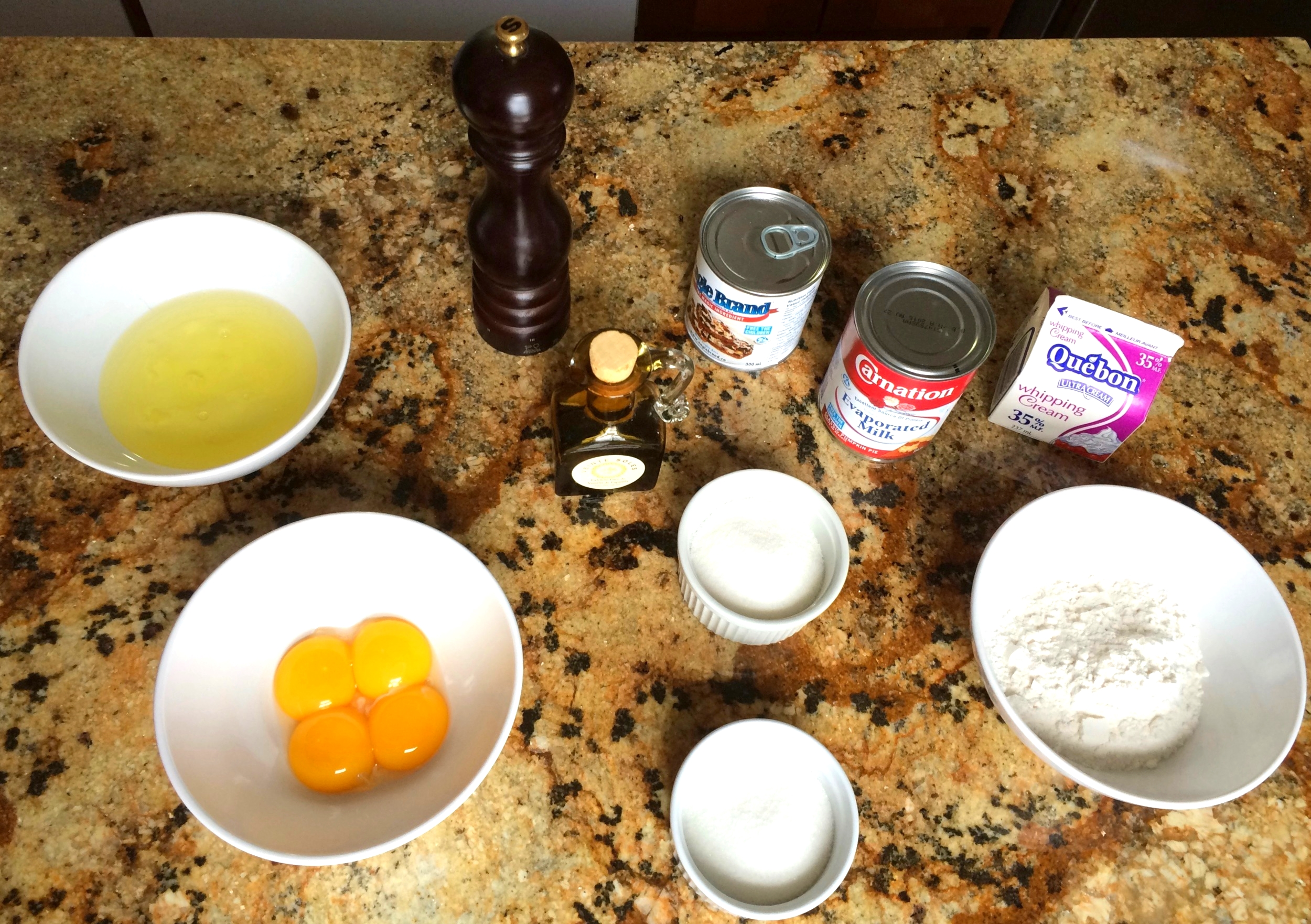Notice how the eggs and sugar are divided. This will allow the egg whites to reach room temperature. The sugar is also divided because we'll use it in different components.