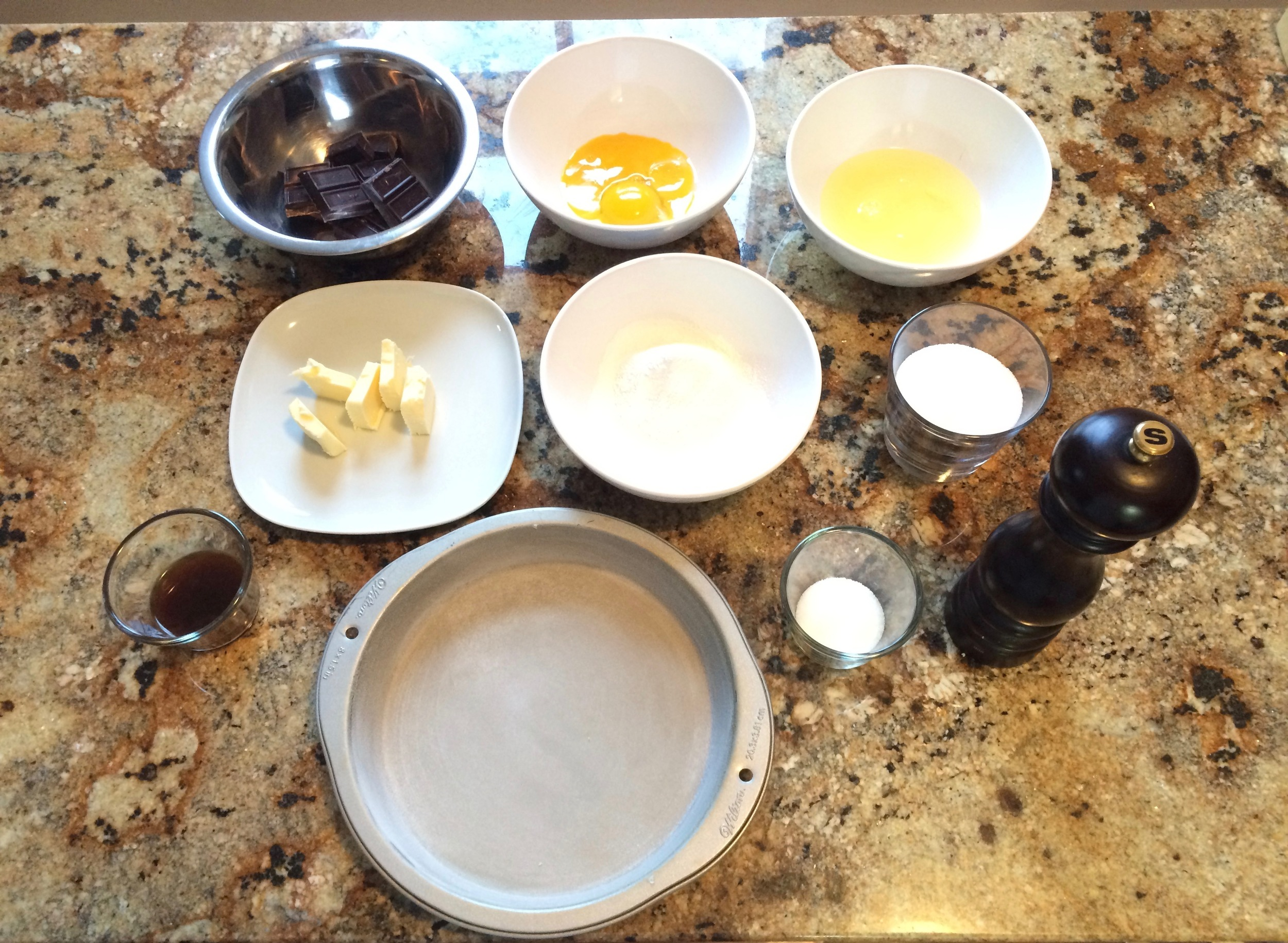 Place the ingredients for the chocolate spongecake to make sure that they all get to room temperature and for easy reach.