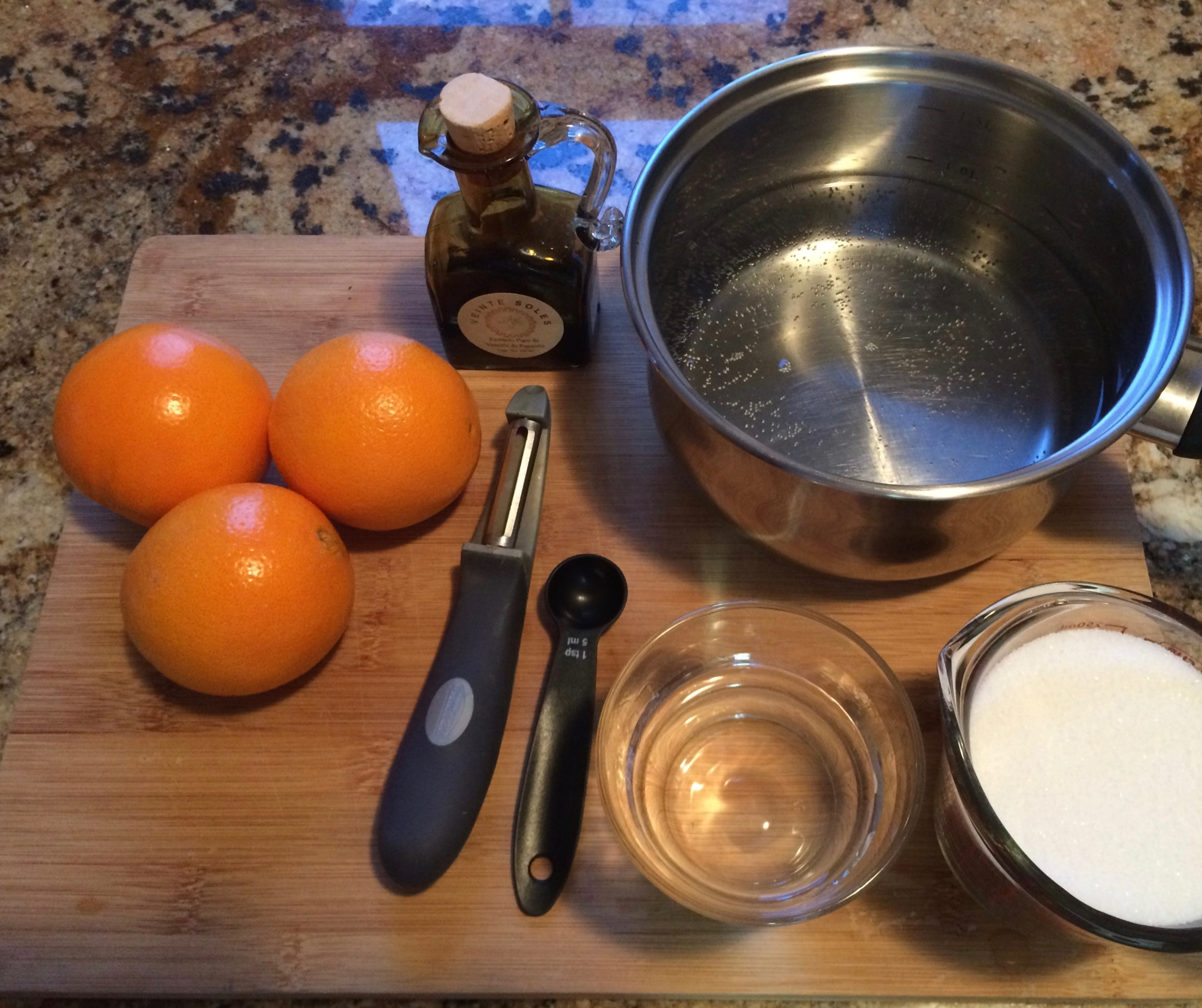 Because you'll be boiling sugar at one point, it's better to have all your ingredients, pots and bowls ready.