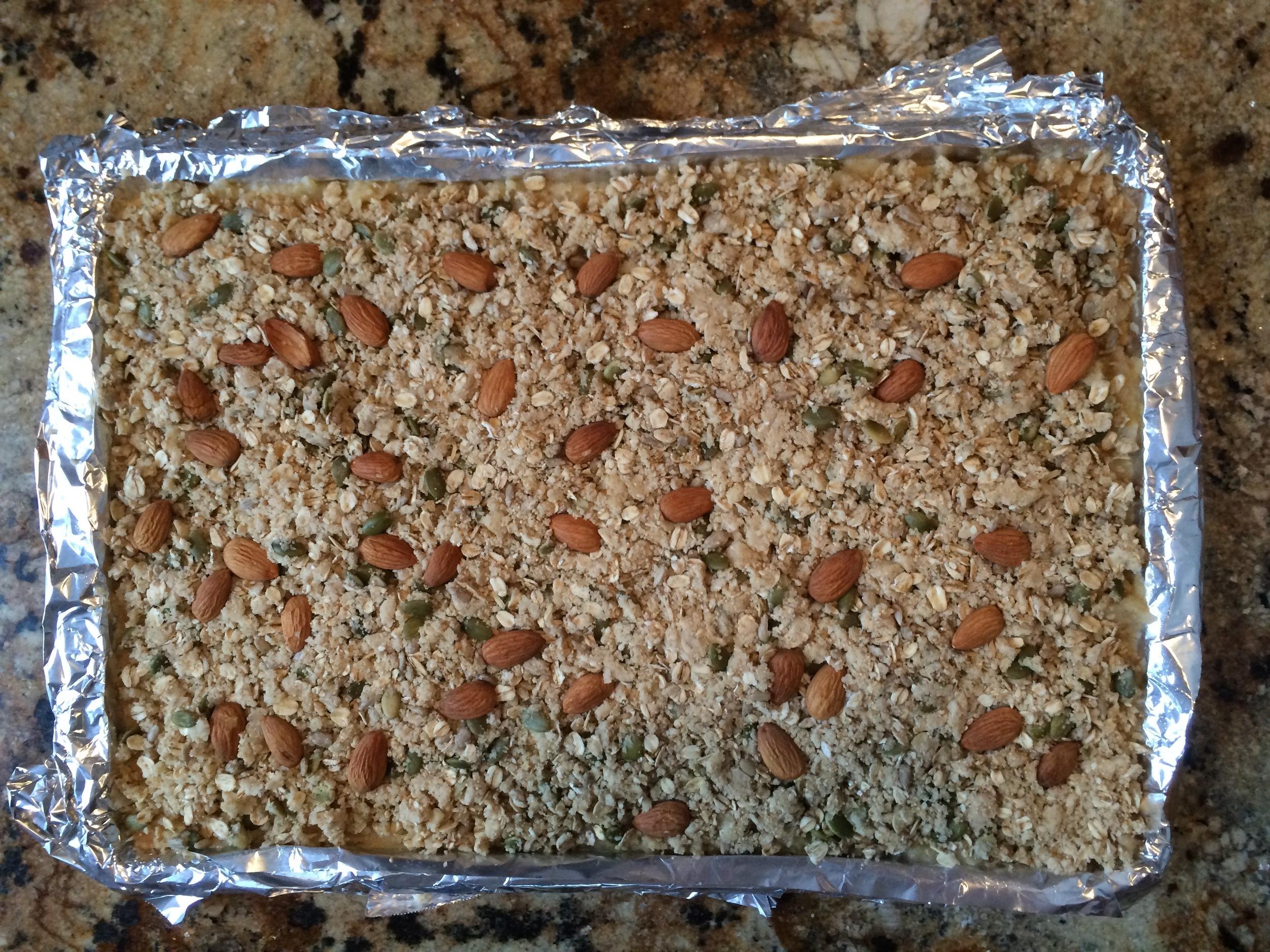 Sprinkled streusel before oven