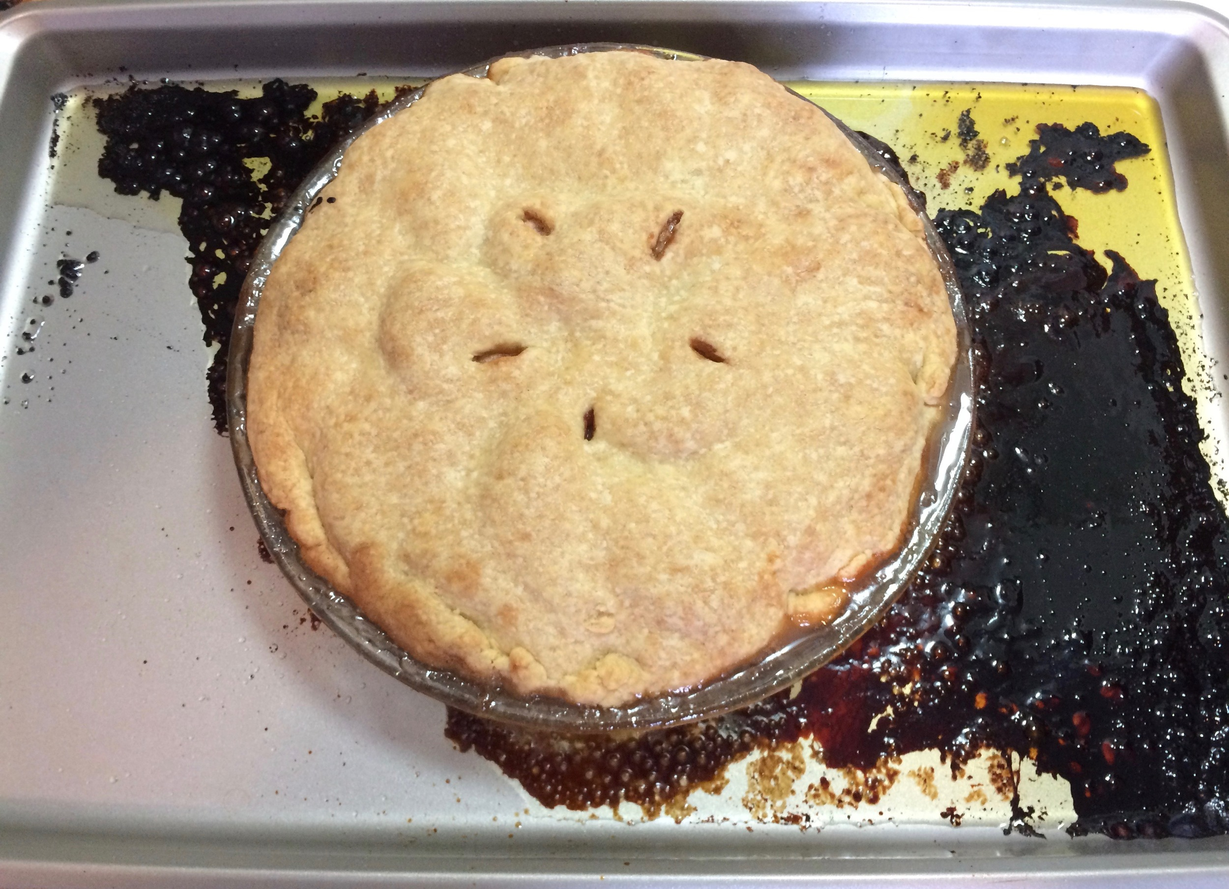 After removing tart from oven