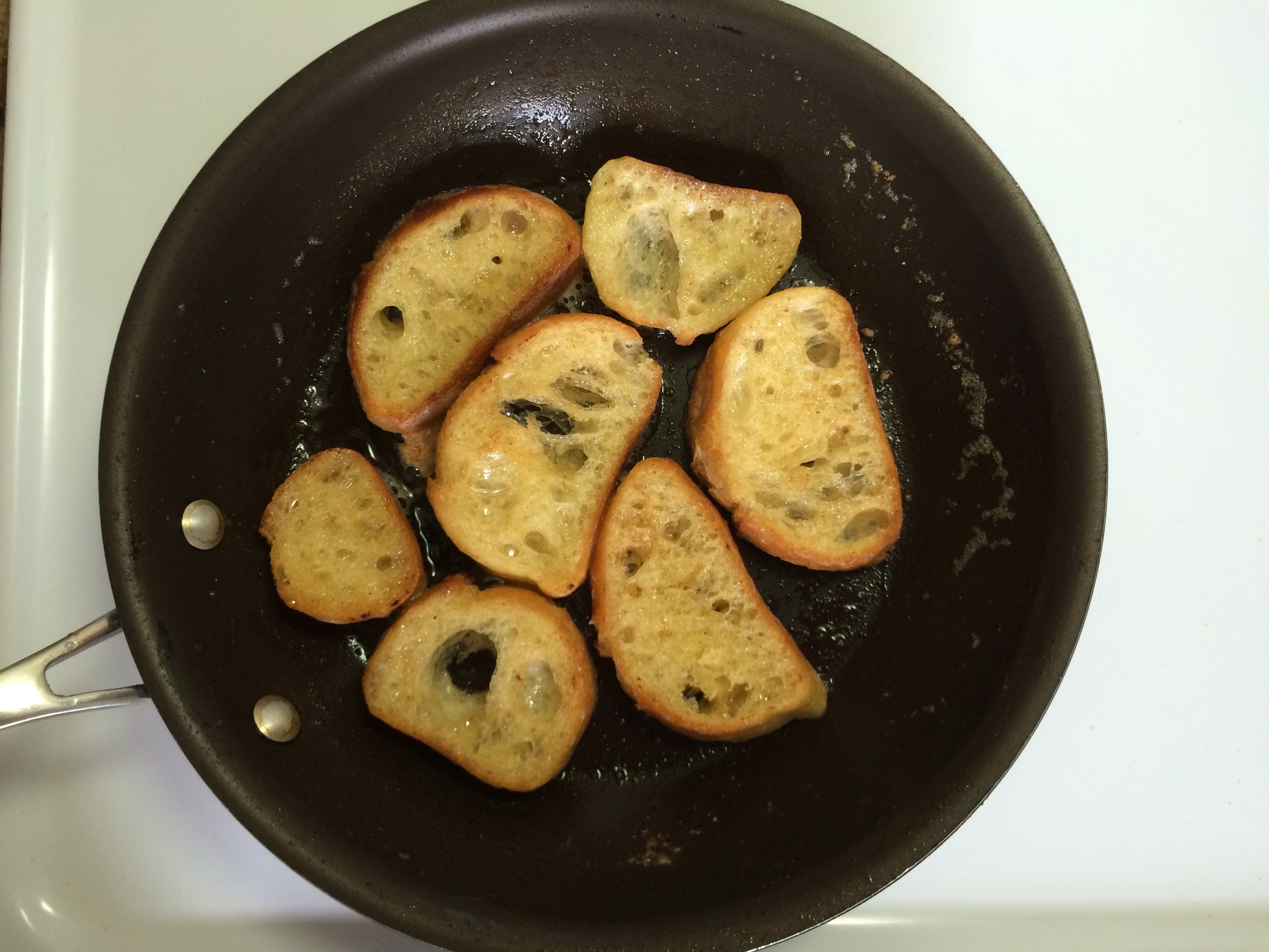 Butter and bread in pan