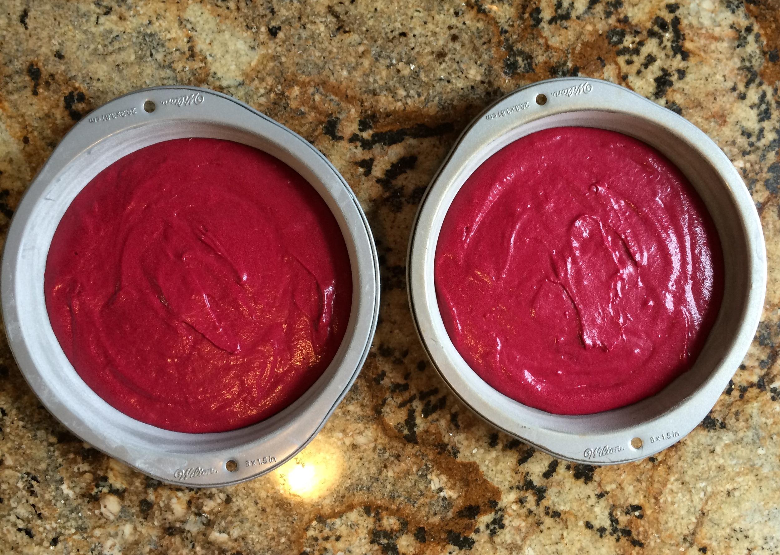 Red velvet ready for the oven