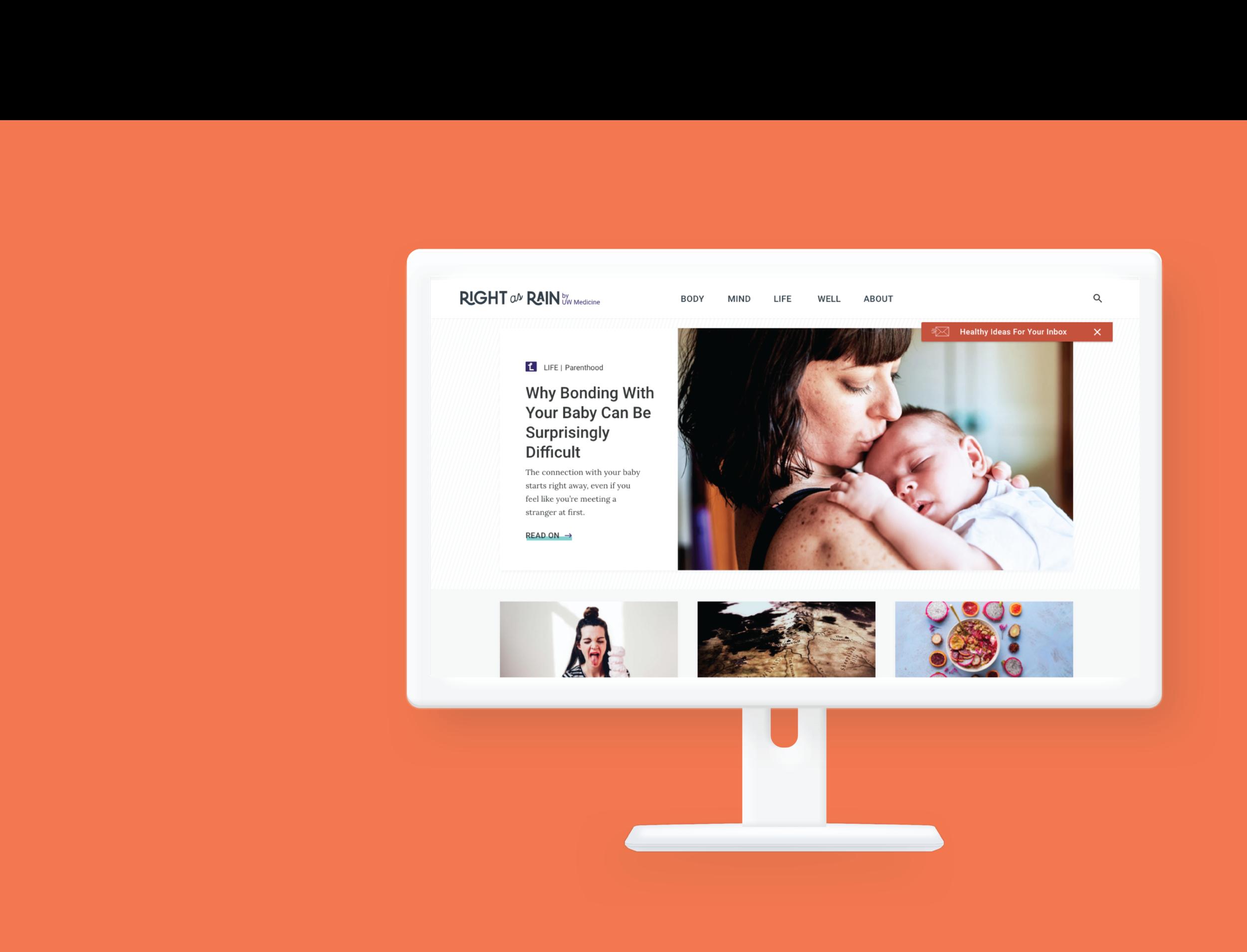 Right as Rain by UW Medicine  UI & Visual Design, Branding, Mobile Design   View PRoject