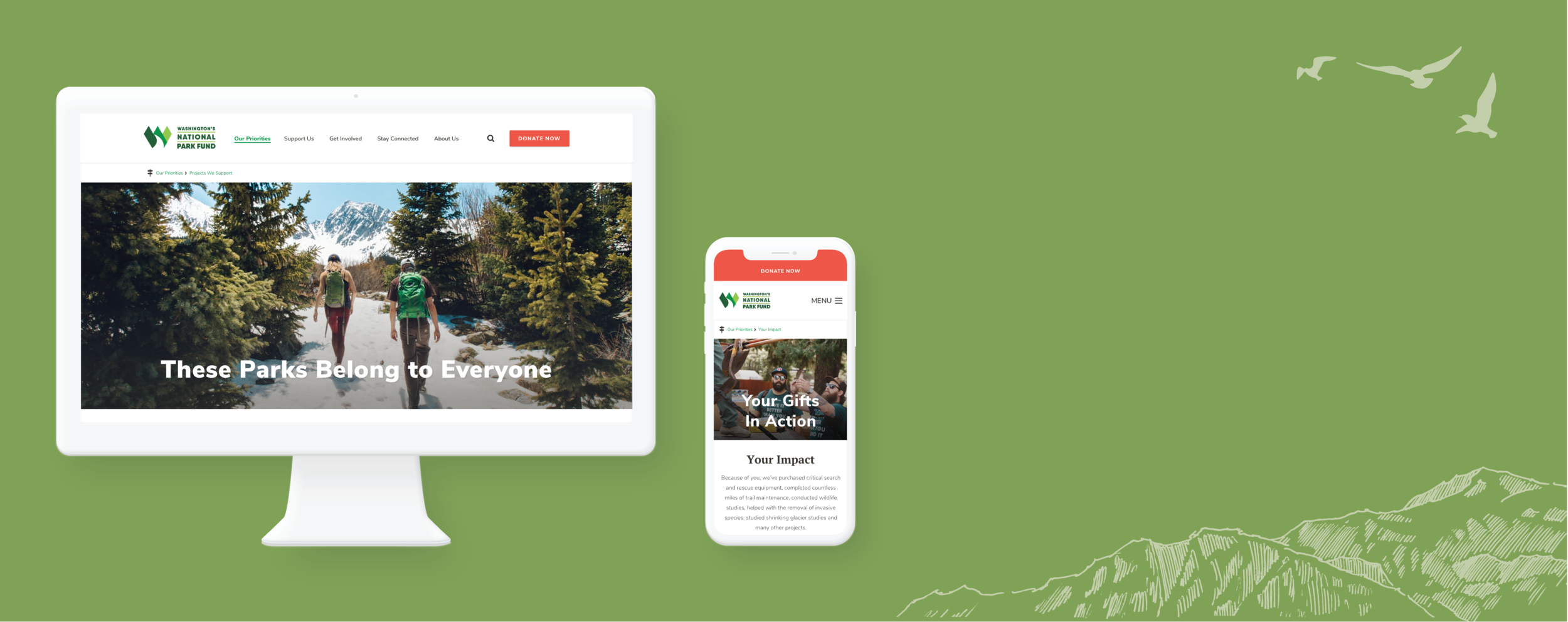 Washington National Park Fund  Mobile Design, UI & Visual Design, User Research   View project