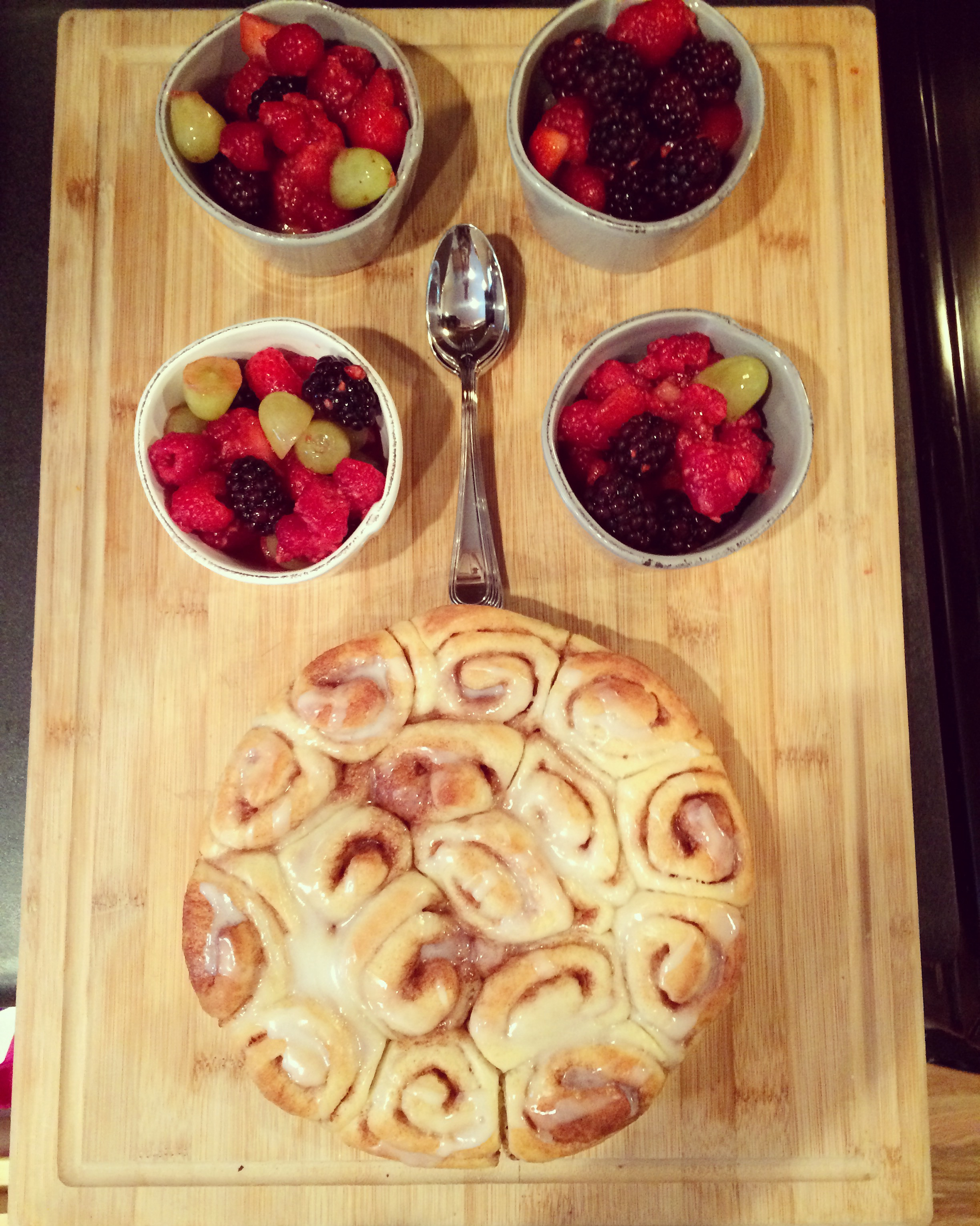 Normally I cook a full breakfast (eggs, bacon, yogurt, granola, berries, OJ, etc.), but this is a perfect quick option: Sister Schubert cinnamon rolls served with fruit and carried out onto the front porch to enjoy the fall temps.