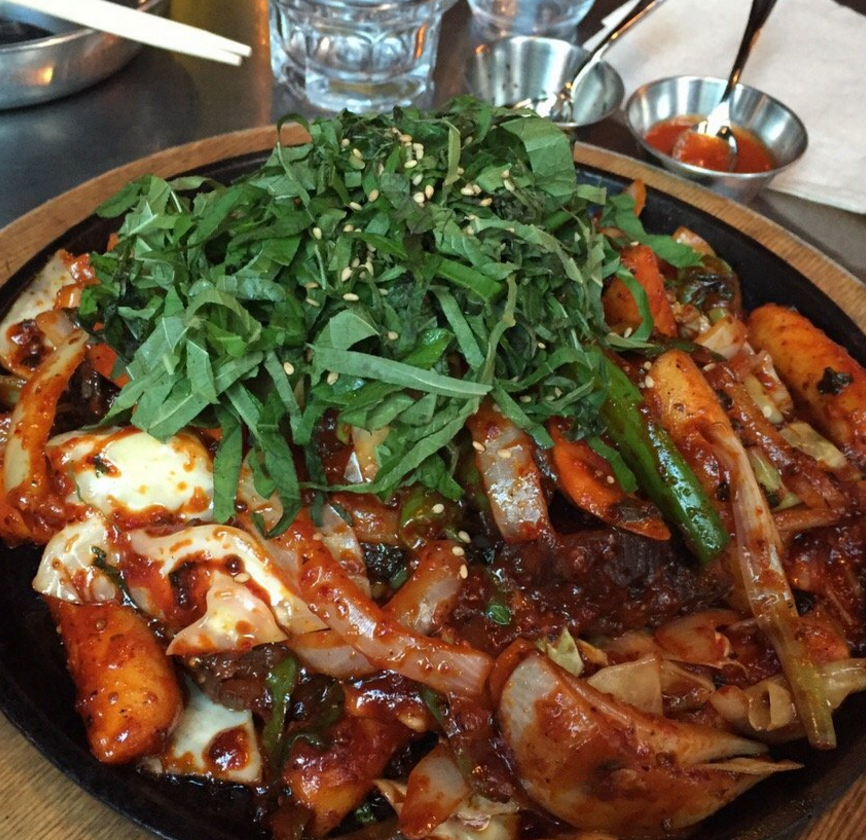 "Restaurant/Drinks, ""Soju Haus""  Korean in KoreaTown, Midtown West  Get: Spicy BBQ Chicken with Cheese, Budae Jigae, Flavored Soju  Note: 21+, Cash and AmEx only"