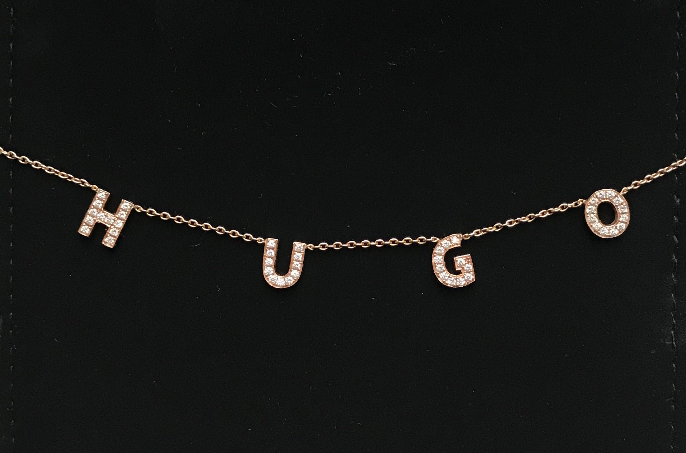 Custom Name Necklace - $325 per letter, Diamond & Gold (Yellow, White, Rose)